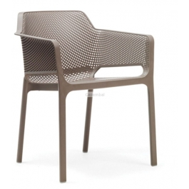 Fauteuil net taupe empilable